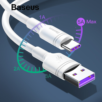 Baseus White TPE USB Type C Cable for Huawei mate 20 pro 5A Super Quick Charge USB C 2A Quick Charge for samsung galaxy s9 plus Mobile Phone Cables