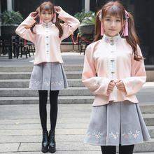 Oriental Hanfu set female chinese style stand collar Blouse + skirt Cantonese embroidery flower ancient style Outfit set Girl