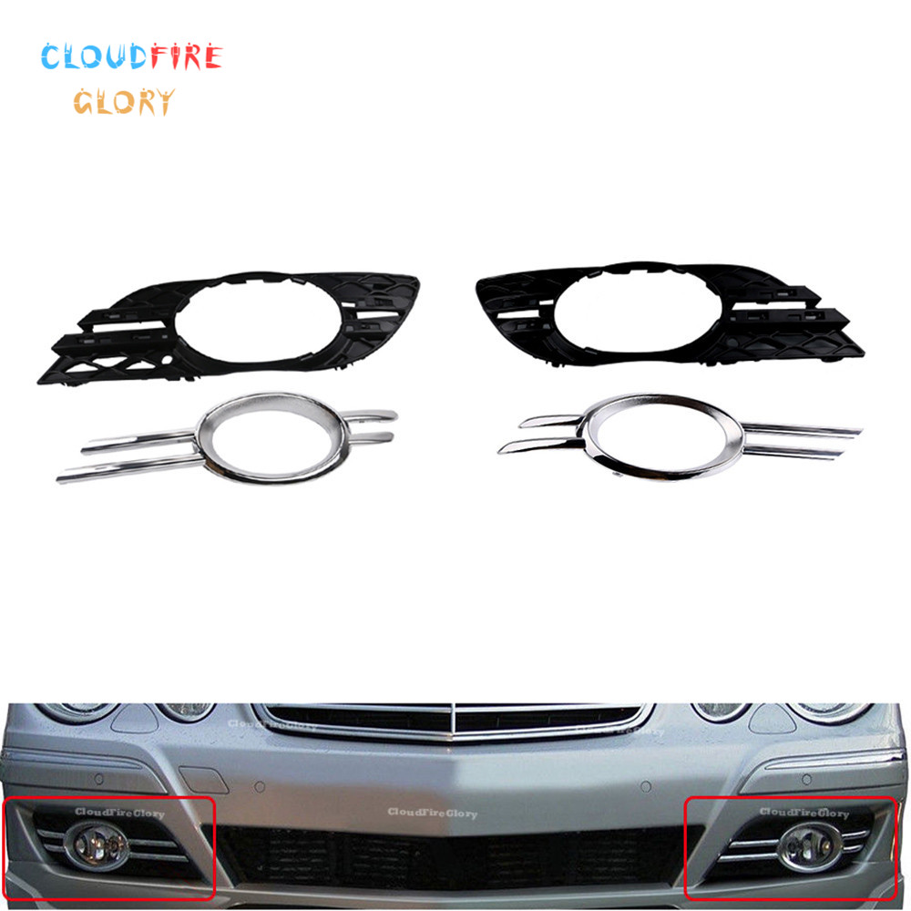 4Pcs Front Bumper Fog Light Chrome Grill Trim Cover Left Right For Mercedes-Benz 2007 2008 2009 W211 E320 E350 E550 E63 AMG image