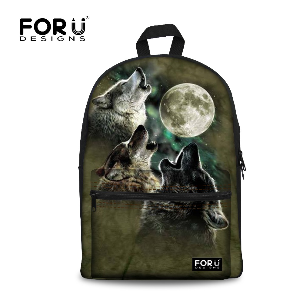 Novelty Backpack Women For Teenage Boys School Backpack Male& Feminine Mochila,wolf Printing Children Fashion Backpacks Bags