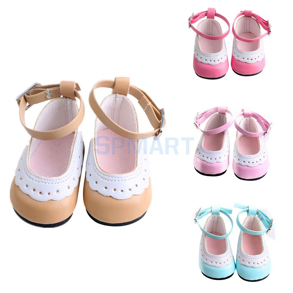 Pair Dolls Shoes with Scallop Trim Ankle Strap Accessories for 18 inch American Girl AG Our Generation Journey Girl My Life Doll scallop trim cami top and laser cut shorts set