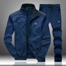 Spring Men Set Casual Tracksuit Male Stand Collar 2019 Men's Sportswear Jackets+Sweatpants 2 Pieces Sets Slim Solid Sweatsuits(China)