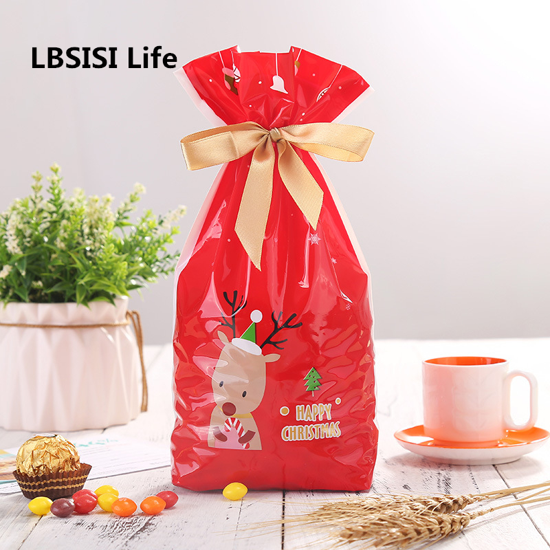 LBSISI Life 5pcs Christmas Gift Bags Elk Cookie Candy Chocolate Ribbon Rope Packing Bag Font Drawstring Plastic Bags Self Stand