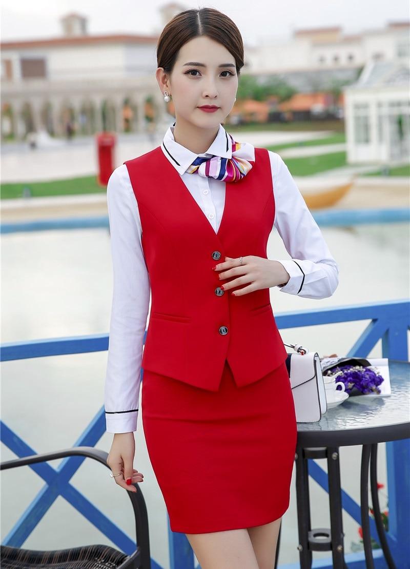 Donna D'affari rosso Vestiti blu Stili Due Formale Nero Gonna Uniformi E Wear Signore Pezzi Top Il Panciotto Rosso Navy Work Imposta Con Gilet Ufficio 1qttEIw