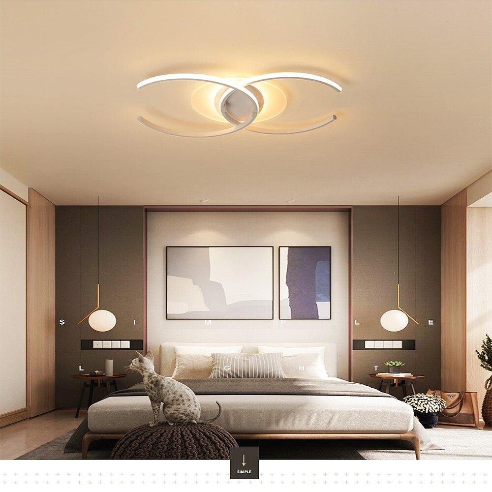 Lampa sufitowa Led akrylowe podwójne C osobowość sypialnia salon domu mody oświetlenie wewnętrzne RC możliwość ściemniania led lampy wiszące|Wiszące lampki|   -