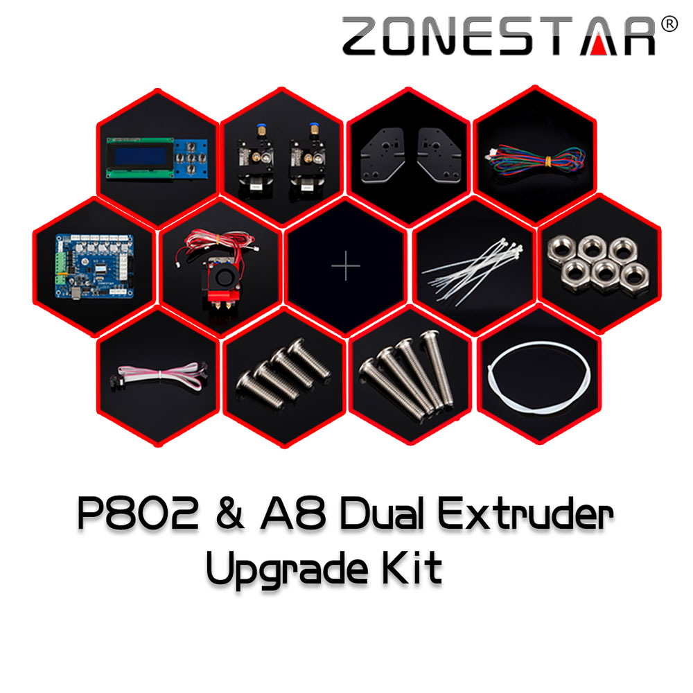 New Arrival 3D Printer Dual Extruder Upgrade Kit for Zonestar P802N P802M P802Q P802QS A8 Two Color printing Bowen extruder j m d 2017 new arrival 100