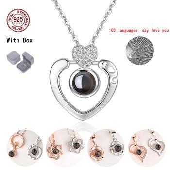 f55da64191d7 Señoras colgante collares gargantilla de cristal 925 plata esterlina 100  Idioma amor mujer regalo joyería regalo de San Valentín