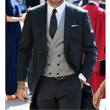 Black Wedding Suits Groom Tuxedos Custom Made Best Groomsmen Mens Prom Party (Jacket+Pants+Vest