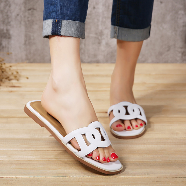 Women Slippers Summer 2017 Casual Genuine Leather Shoes Woman Solid Cut Out Retro Women Flats Plus Size 41
