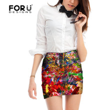 FORUDESIGNS New Womens Vintage High Waist Tight Slim Skirt Summer Spring Pencil Preppy Mini A-Line for Ladies
