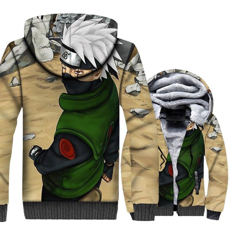 thicken swag plus coats Anime Naruto Hatake Kakashi tracksuit 2019 men wool liner jackets male hooded 3D Print winter sweatshirt