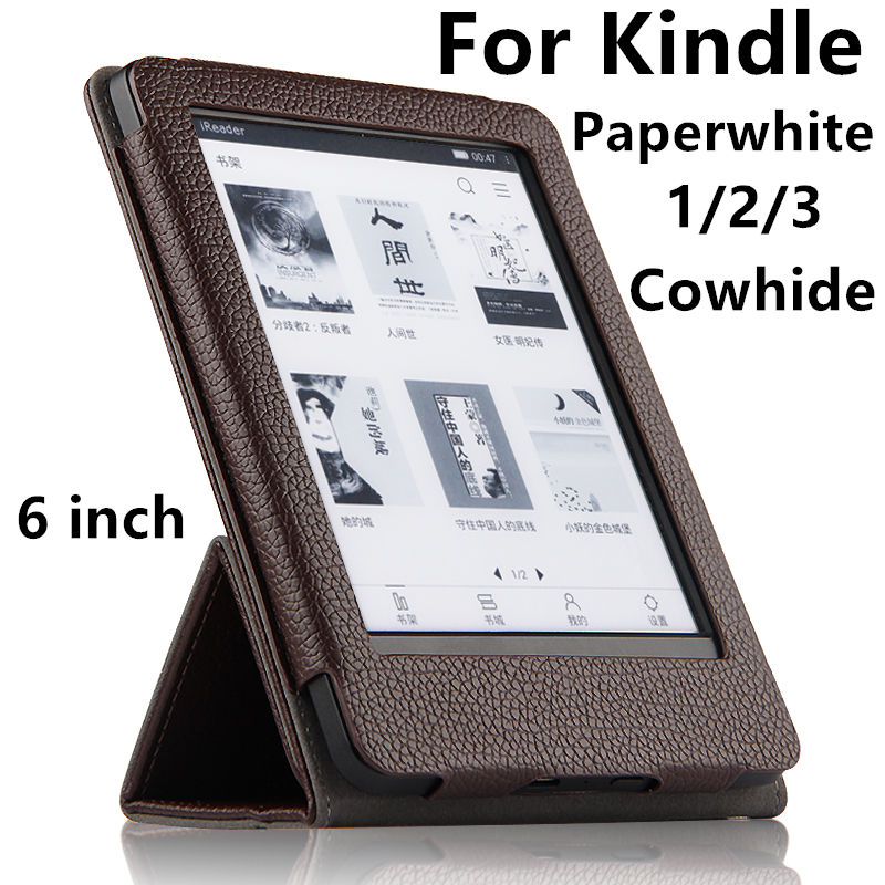 Case For Amazon Kindle Paperwhite 3 2 1 Cowhide Protective eBook Reader Smart Cover Protector Genuine leather Sleeve 6'' Cases pu leather ebook case for kindle paperwhite paper white 1 2 3 2015 ultra slim hard shell flip cover crazy horse lines wake sleep