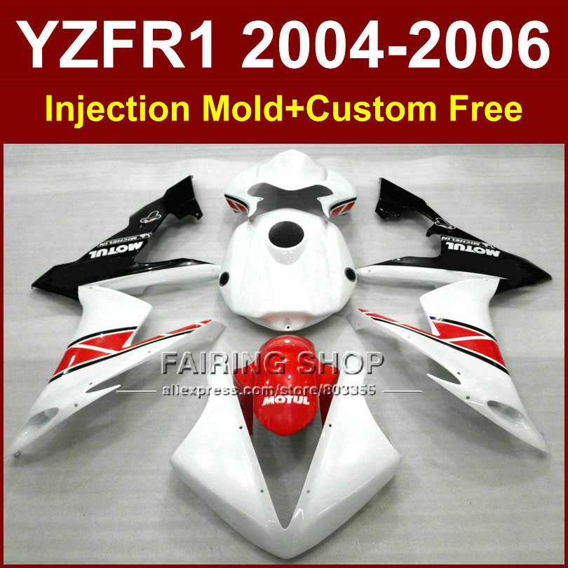 Custom ABS motorcycle Injection fairings set for YAMAHA R1 2004 2005 2006 YZFR1 YZF1000 04 05 06 white red bodywork fairing kit full set 3pcs motorcycle new black gold 320mm 220mm front rear brake discs rotors rotor for yamaha yzf r1 2004 2005 2006 04 06