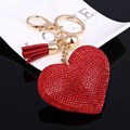 Crystal Red Heart Key Chain Gold Chain With Tassel Car Purses Bag Pendant Charm Keychain Ring Girl Bag Key Holder Lover's Gifts