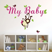 2014 Original Monkey Name Decals With Name And Birds For Nursery Girl Personalized Custom Baby Name