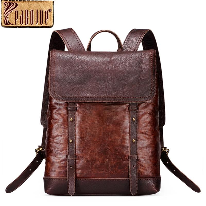 Pabojoe 100% Genuine Leather Women's Backpack Mens Shoulder Bag School College Dayback Casual Vintage Style for Students Mochila pabojoe women mens school backpack italian 100