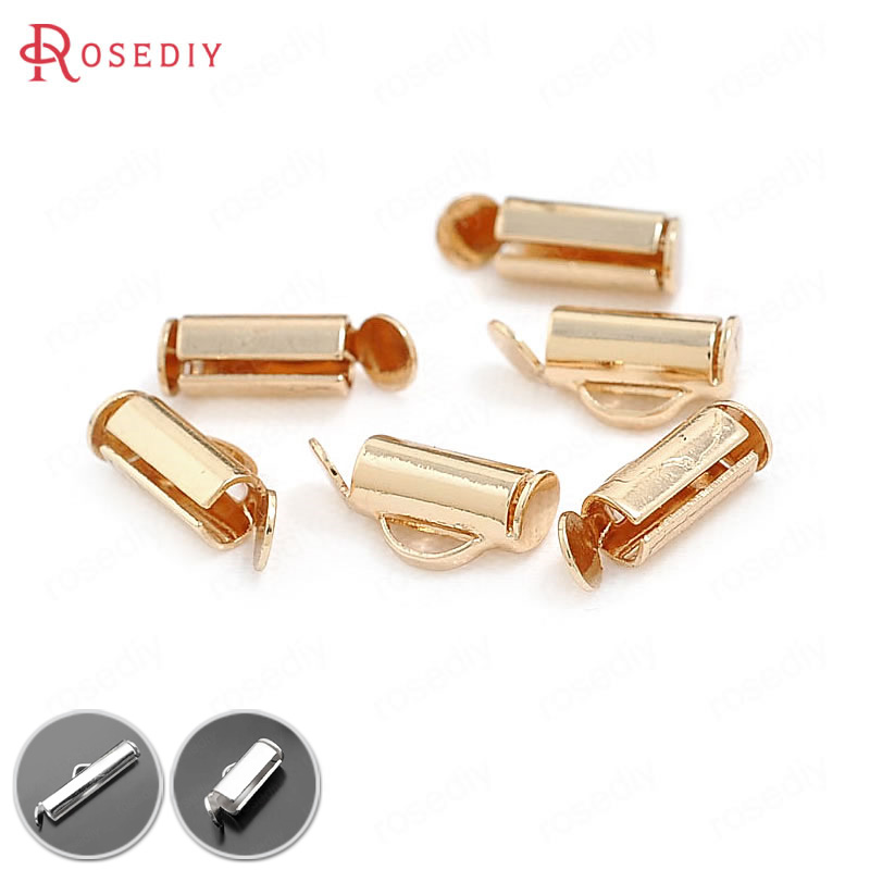 30PCS 9MM 13MM 19MM 24K Champagne Gold Color Plated Brass Row Beads Ends Fastener Clasps High Quality Diy Jewelry Accessories