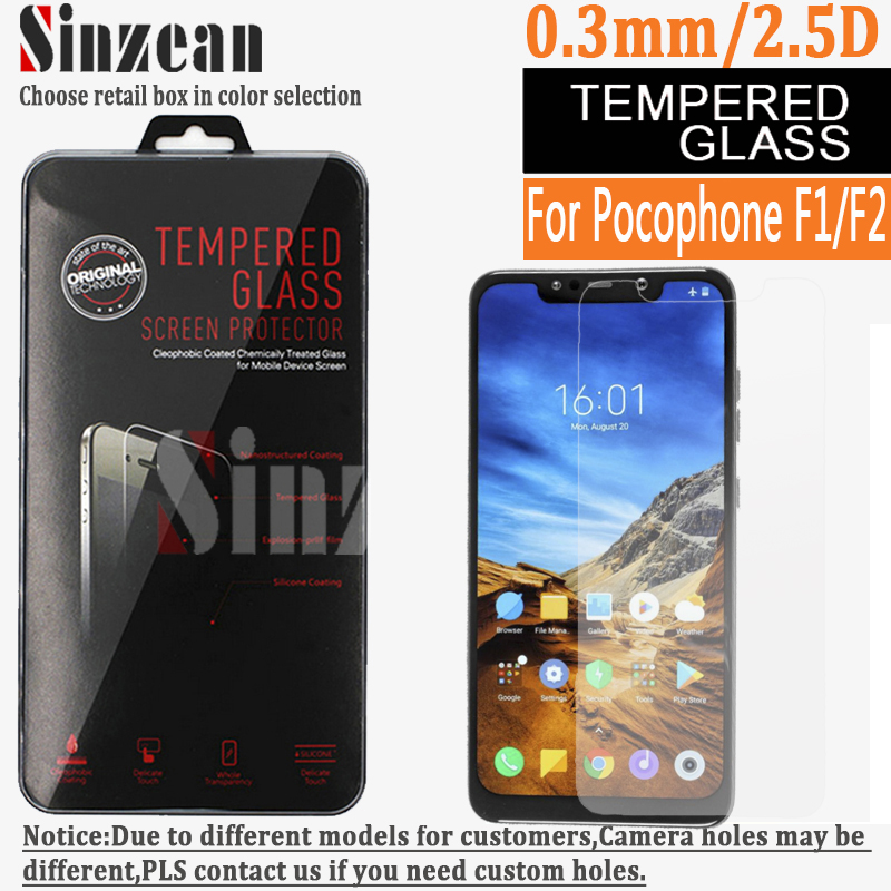 Sinzean 100pcs For Xiaomi Pocophone F1 Tempered glass For POCO F2 Screen Protector Film with retail package 0.3MM 2.5D-in Phone Screen Protectors from Cellphones & Telecommunications    1