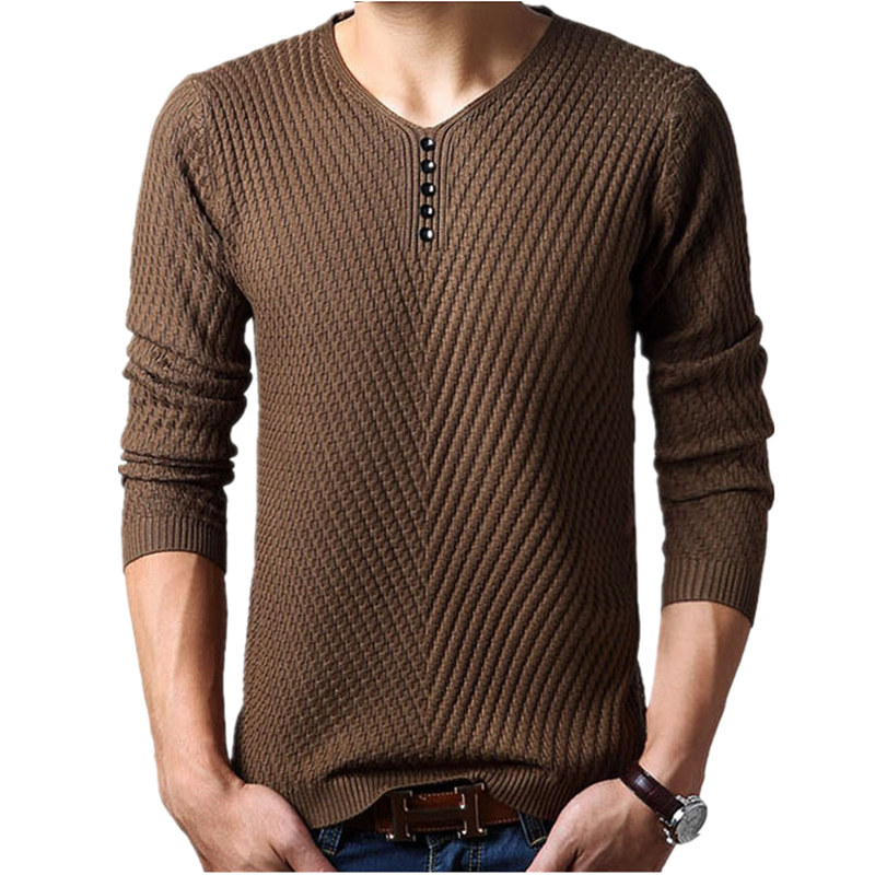 Jersey Knitted-Sweaters Men Cashmere Winter Pullover Homme Mens M-4XL Henley Hombre