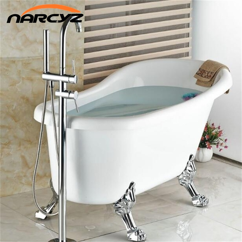 все цены на All Brass NEW Style  Polished Chrome Brass Bathroom Tub Faucet Floor Mounted Tub Filler W/ Hand Shower Swivel Spout Shower XT348