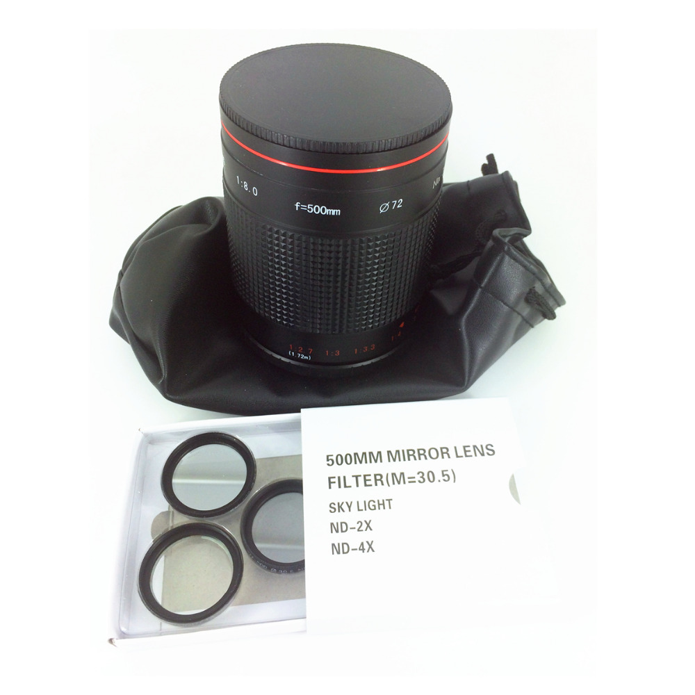 Manual 500mm F8 Reflex Mirror Telephoto Lens for Canon Nikon Pentax Sony Olympus Panasonic Camera 500 mm F/8