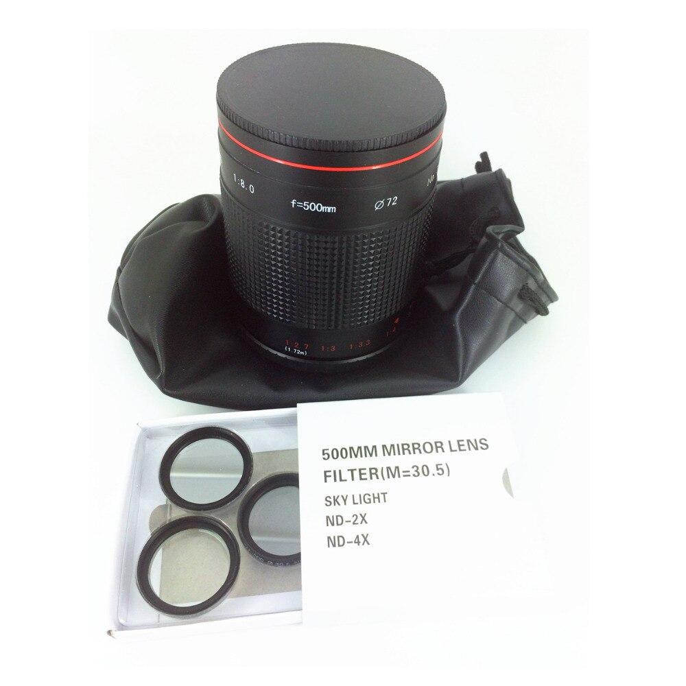 Téléobjectif miroir Reflex 500mm F8 manuel pour Canon Nikon Pentax appareil photo Sony Olympus Panasonic 500mm F/8