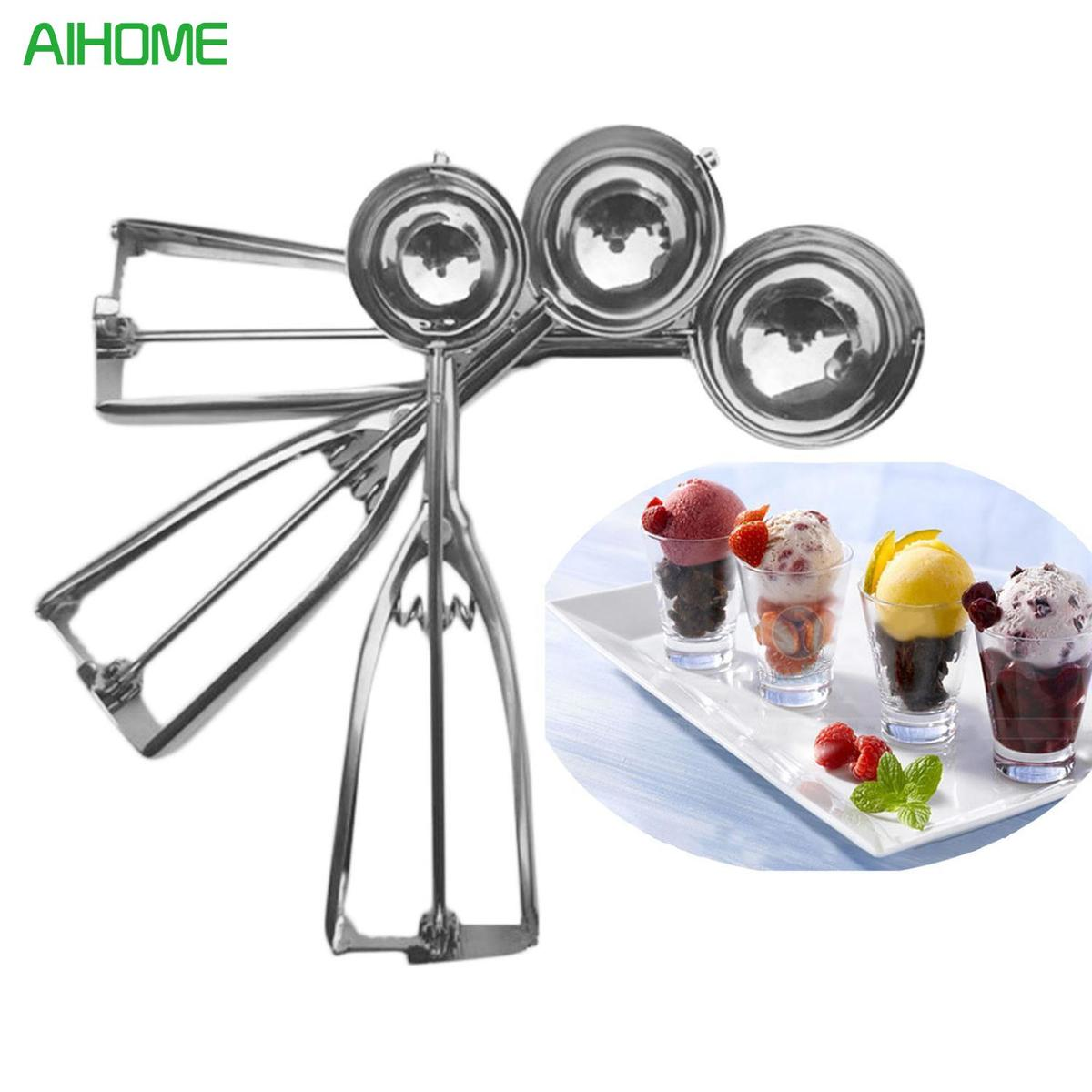 New DIY 3Pcs Handmade Stainless Steel Icecream Mould Ice Cream Scoop Spoon Mold Mould Tool Sets ZGD32