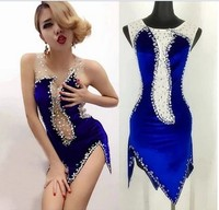 Shiny Crystal Sexy Latin Dancing Dresses Female Blue Luxury Perspective Sexy Costume Mesh Stitching Communicative Dress