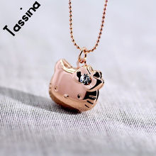 Tassina Crystal Necklace Pendant Photo floating memory Locket Necklace Cute Cat Hello Kitty For Women Men Sweet Memory MLY224N(China)