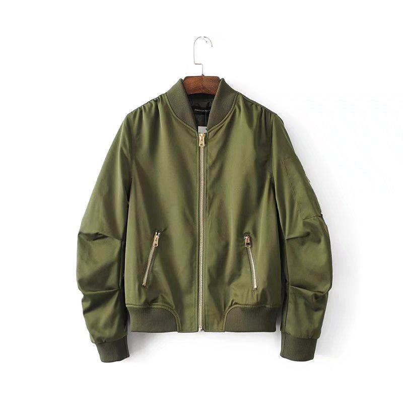 Boyfriend Style   Basic     Jackets   Woman Solid Color Zipper Bomber   Jacket   Female Casual   Jacket   Spring Autumn Unisex Tops