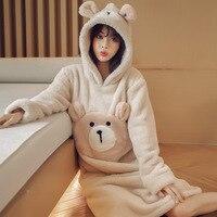 Sweet Girl Lovely Animals Sleepdress Home Wear Autumn Winter New Women Flannel Nightgown Casual Warm Long Nightdress Negligee