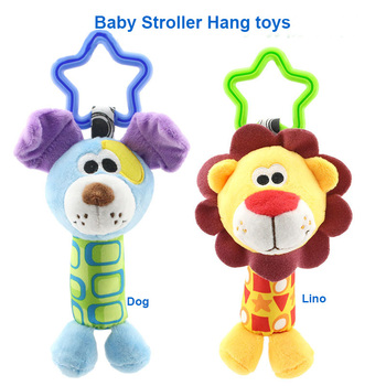 Hanging Plush Baby Toy Rattle Lovely Cartoon Animal Bell Newborn Stroller Accessories Baby Toys 6 Style Lion Deer Elephant 1