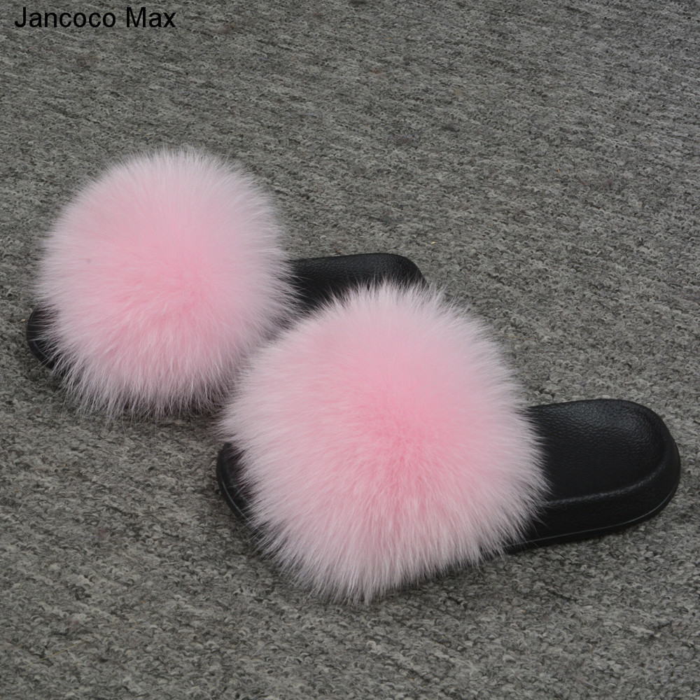 Jancoco Max 2018 Kids Real Fox Fur Girls Slipper Spring Summer Natural Fur Slides Children Indoor Outdoor  S60 GLOve24 jancoco max tan