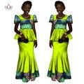 2017 Африканские Женская Одежда Бренда Африканских Платье 6XL Воск традиционных африканских одежды 2 шт. для Женщин Юбка Набор BRW WY1080