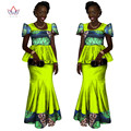 2017 Mulheres Marca de Roupas Africano Africano Vestido 6XL Cera roupas africano tradicional 2 peças para As Mulheres Saia Conjunto BRW WY1080