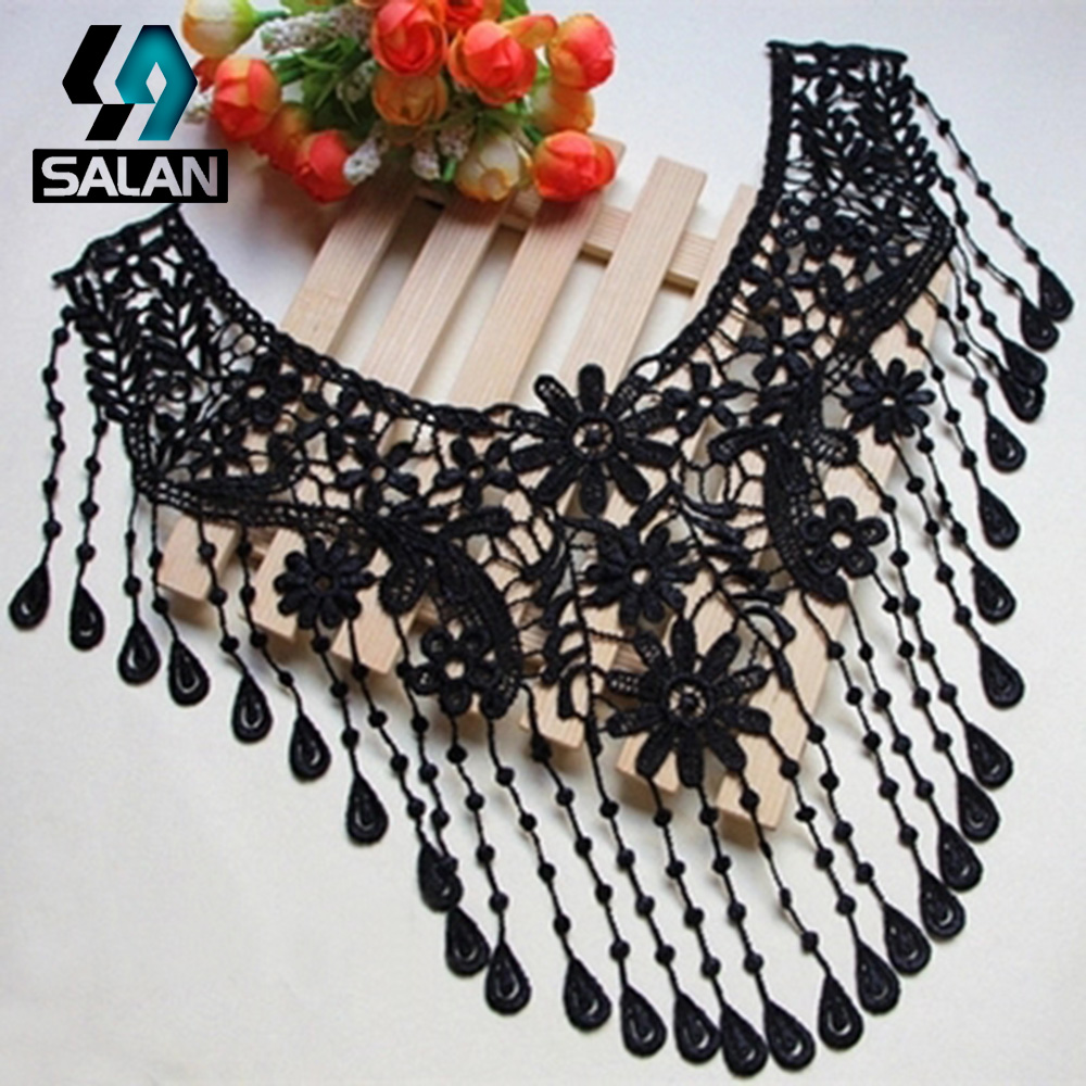 Spot direct supply of high - quality embroidery cotton water - soluble collar flowers black lace water - soluble collar clothing