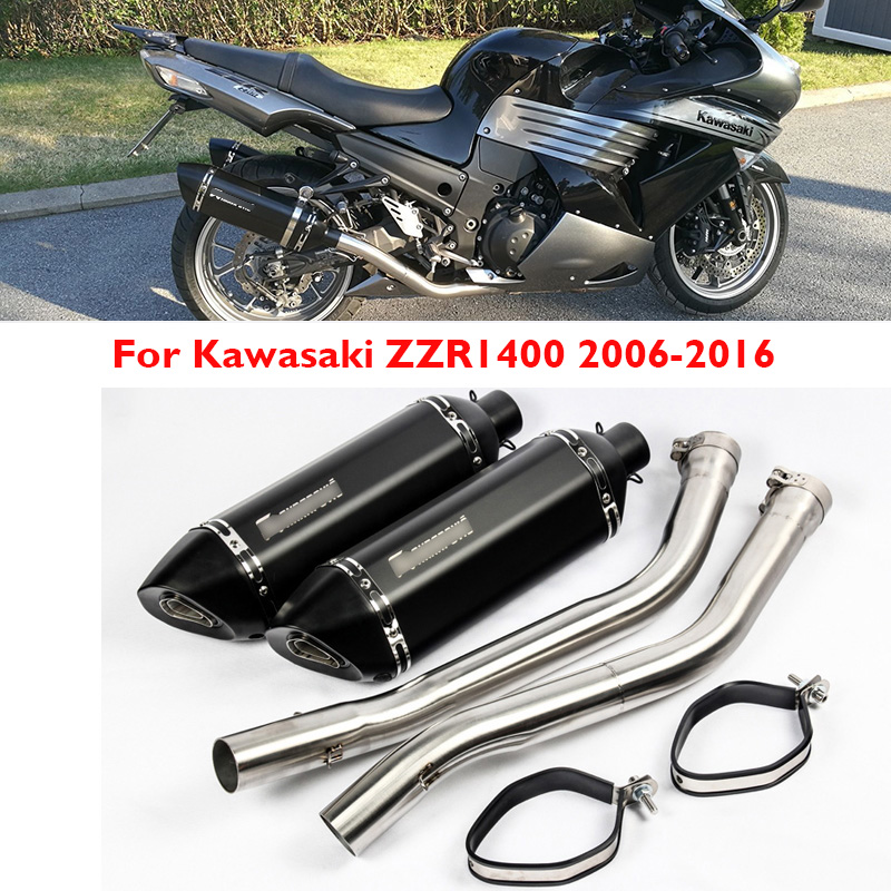 Muffler Motorcycle Kawasaki Zzr1400 Link-Pipe Escape Slip Full-Exhaust-System Left on