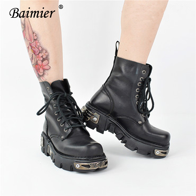 Street Style Black Woman: Baimier Black Leather Ankle Boots For Women Lace Up Women