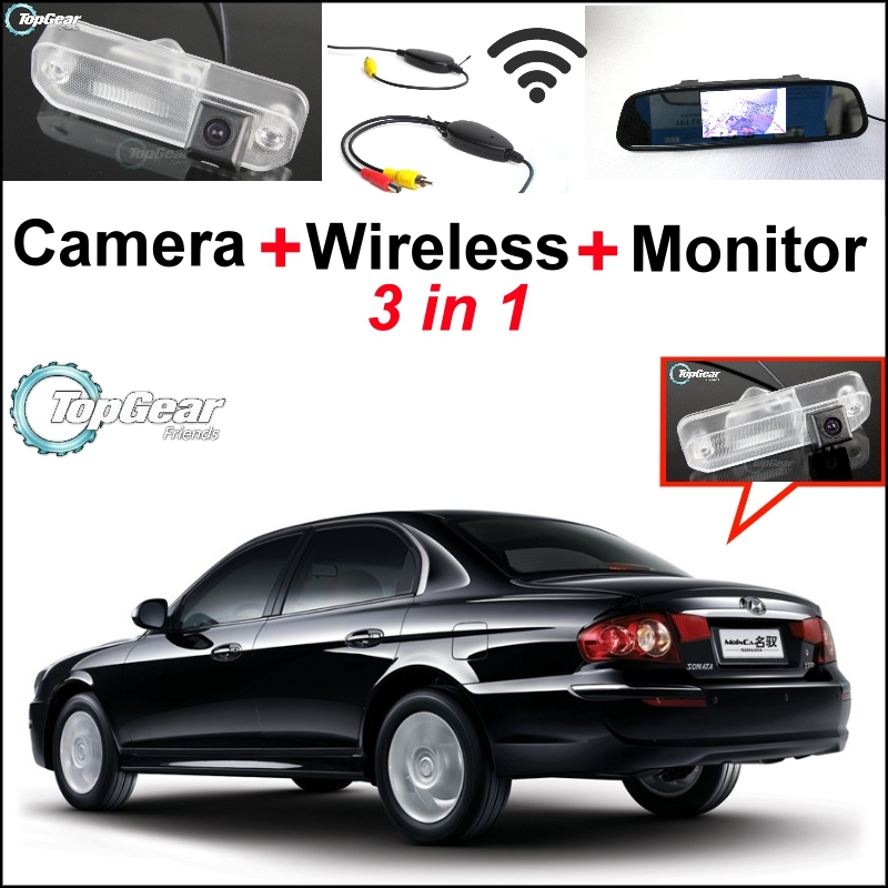 Special Rear View Camera + 3 in1 Wireless Receiver + Mirror Monitor Easy DIY Back Up Parking System For Hyundai Monica wireless pager system 433 92mhz wireless restaurant table buzzer with monitor and watch receiver 3 display 42 call button