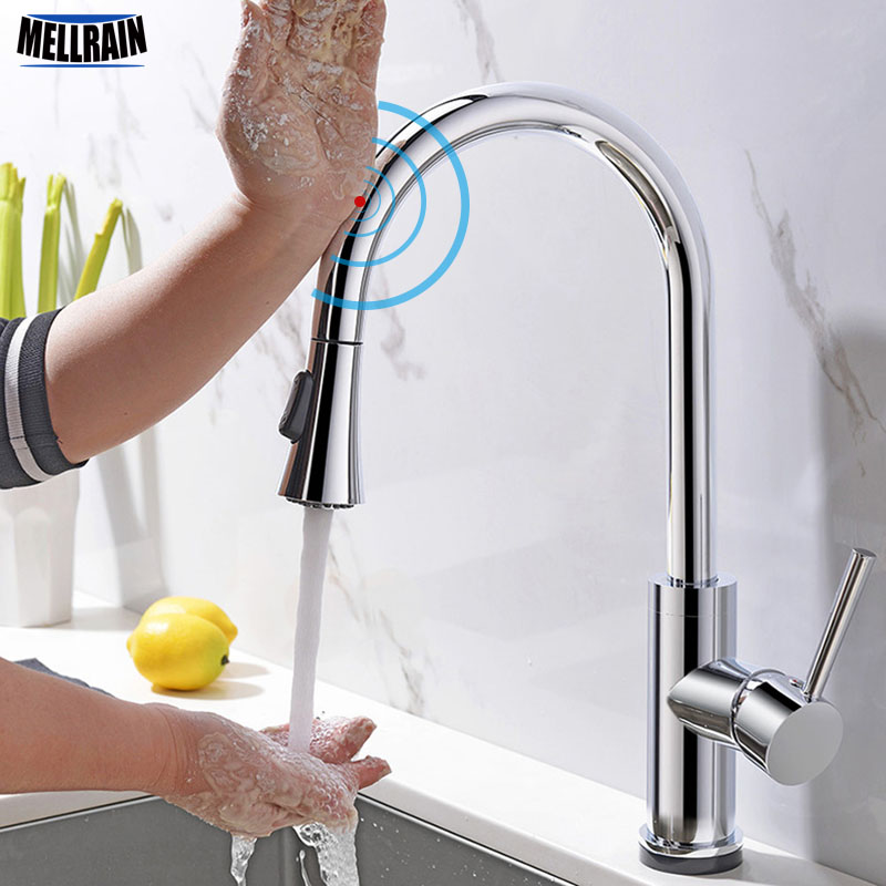 Touch Sense Control Superior Quality Kitchen Faucet Pull Out Double Functions Solid Brass Chromed Kitchen Sink Water Mixer Tap