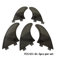 Surfing 5pcs FCS Fins G5 with GL Fin Honeycomb Fibreglass G5+GL Black Quilhas