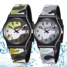 30M Waterproof Cool Military Children Watch Colorful Camouflage Pattern Anolog Wristwatch Quartz Silicone Kids Cartoon Watch
