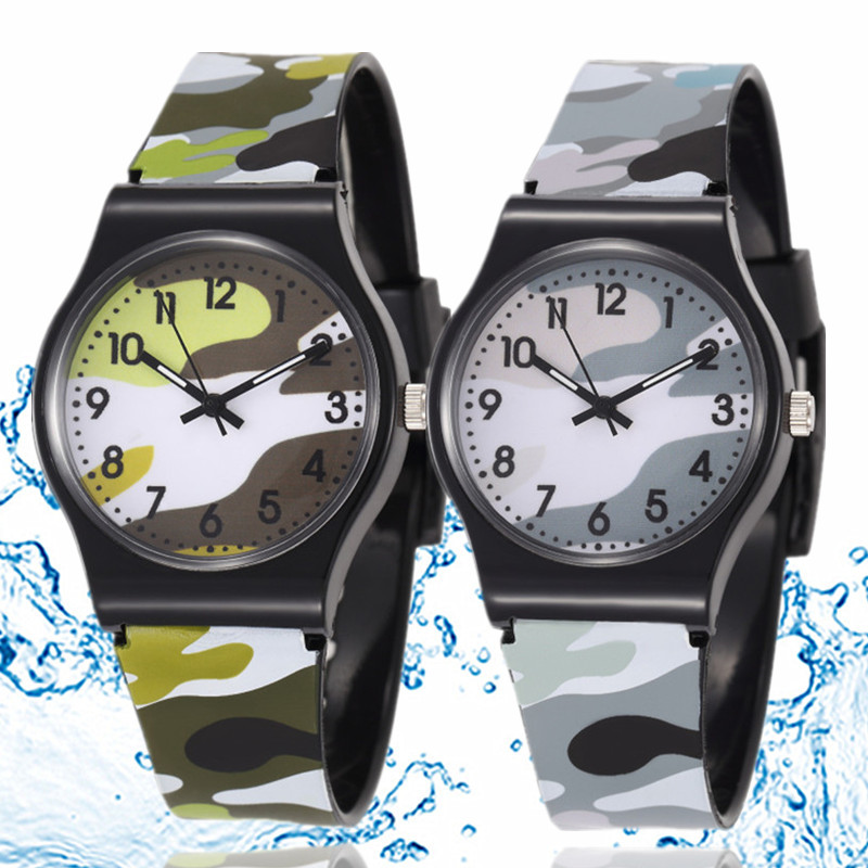 30M Waterproof Cool Military Children Watch Colorful Camouflage Pattern Anolog Wristwatch Quartz Silicone Kids Cartoon Watch