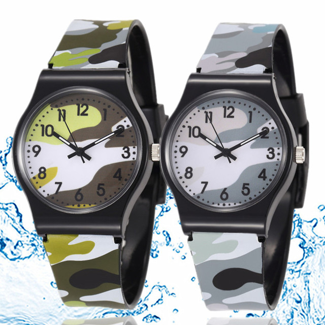 30M Waterproof Cool Military Children Watch Colorful Camouflage Pattern Anolog W