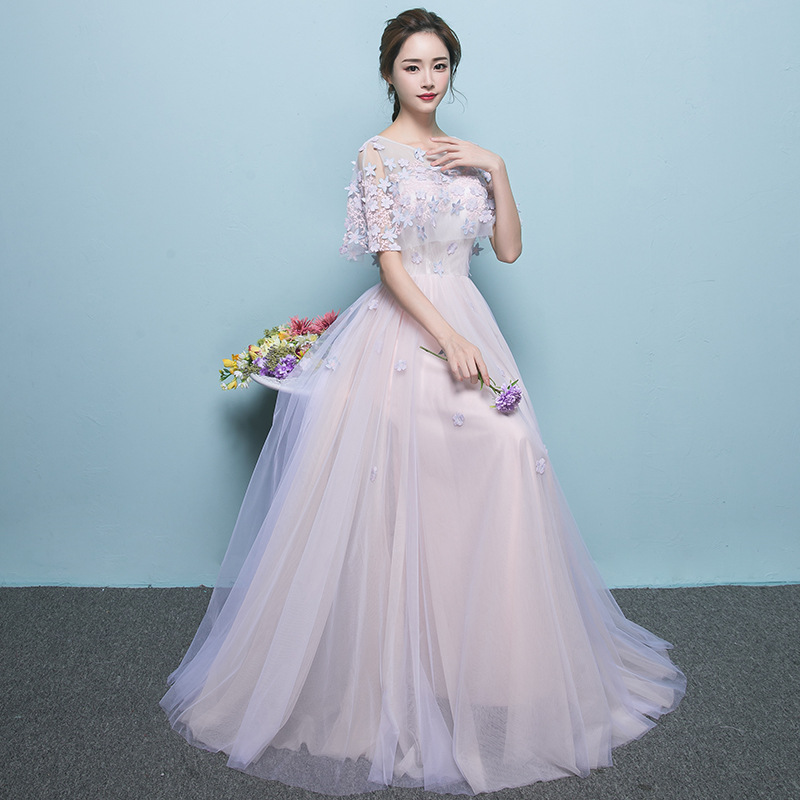 O-neck   Bridesmaid     Dress   Full Appliques Beading Flowers Party Prom   Dresses   Women Pink Blue   bridesmaid   Long Formal Prom Gowns E065