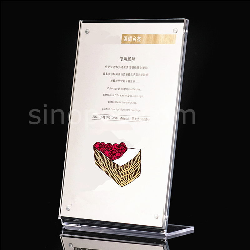 Magnetic L slanted Acrylic Photo Stand A5 A4, clear plastic frame ...