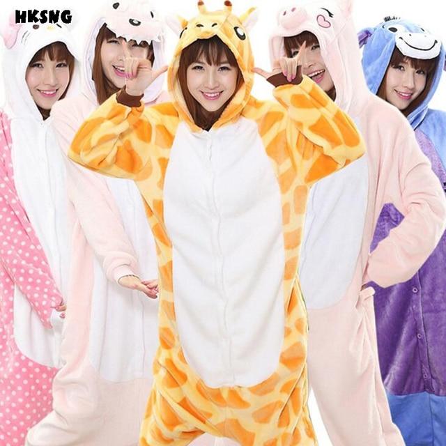 HKSNG фланель животных Kigurumi милый жираф Наклейка с Пикачу тигра корова  кошка Rilakkuma Panda Пижама