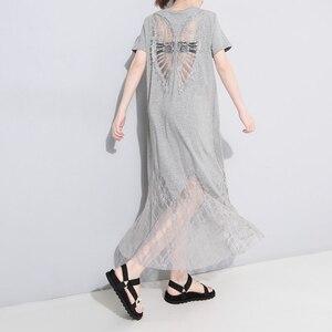 Image 4 - [EAM] vestido de primavera verano con cuello redondo, manga corta, encaje negro, temperamento largo, moda, JU177, 2020