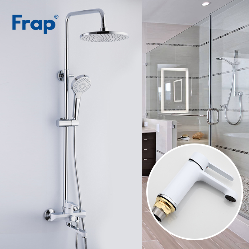 Permalink to Frap White Shower Faucets Bathroom Faucet Mixer Basin Faucets Basin Sink Tap Shower System Sanitary Ware Suite F2441+F1041