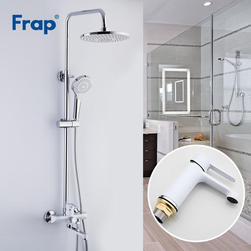 Frap Branco Chuveiro Torneiras Torneira Do Banheiro Mixer Bacia Torneiras Bacia Sink toque Sistema de Chuveiro Louças Sanitárias Suite F2441 + F1041